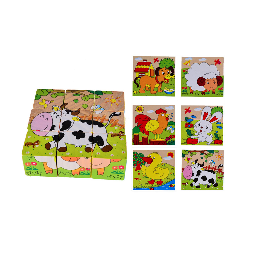 BOHS Children Kids Cartoon Six Sides Painting Blocks, Two in One, 1SET=9Parts=6Patterns ...