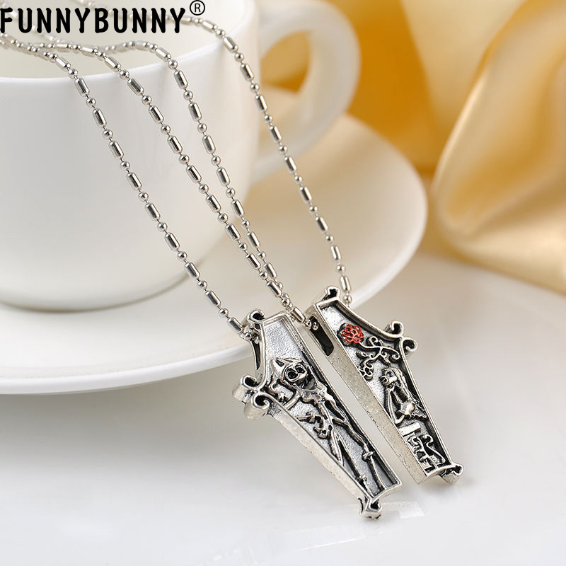 FUNNYBUNNY 2PCS Nightmare Before Christmas Jack Lisa Couple Pendant Necklace Jewelry Gift Party favors Halloween gift