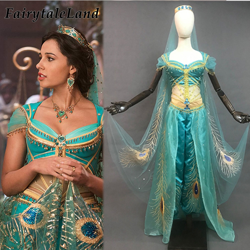 Newest Princess Jasmine Costume Sexy Dress Halloween Cosplay Aladdin Jasmine Outfit Peacock Embroidery Belly Dance Suit