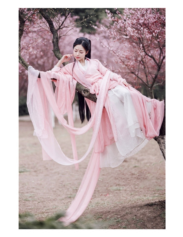 2020 Ancient Chinese Costume Women Traditional Chinese Dance Clothing Women Long Sleeve Hanfu Satin Robe Dress