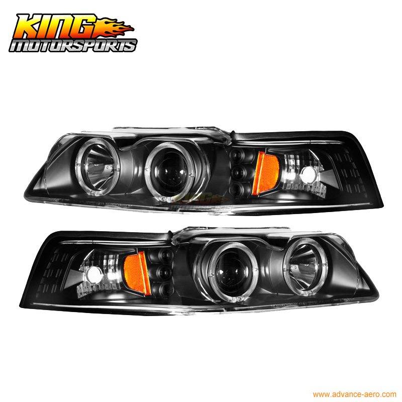 For 1999-2004 Ford Mustang Black Halo Projector Headlights Lamp USA Domestic Free Shipping ford mustang cobra jet