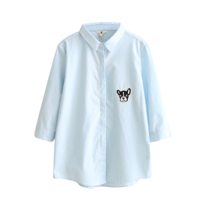 Ladies Shirts Clothes Candy Colors Shirts Women Cartoon Dog Printed Embroidery Design Three Quarter Sleeve Tops for Girls Women