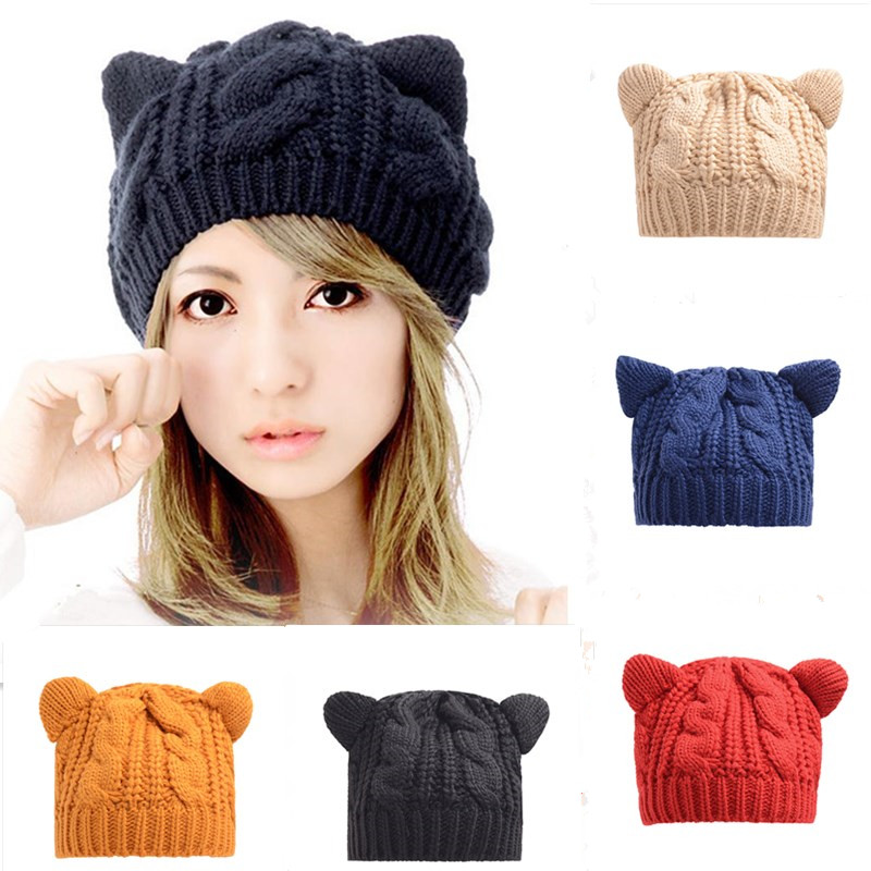 cute Beanies with ears Women Hat Warm Solid Color Hip-hop Cap Lady Girls Cute Winter Knitted Skullies Beanies Casual Wool Caps