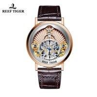 Новинка 2018 года Риф Тигр/RT Роскошные шестерни повседневные часы для мужчин пояса из натуральной кожи ремень часы с костями Relogio Masculino RGA1958