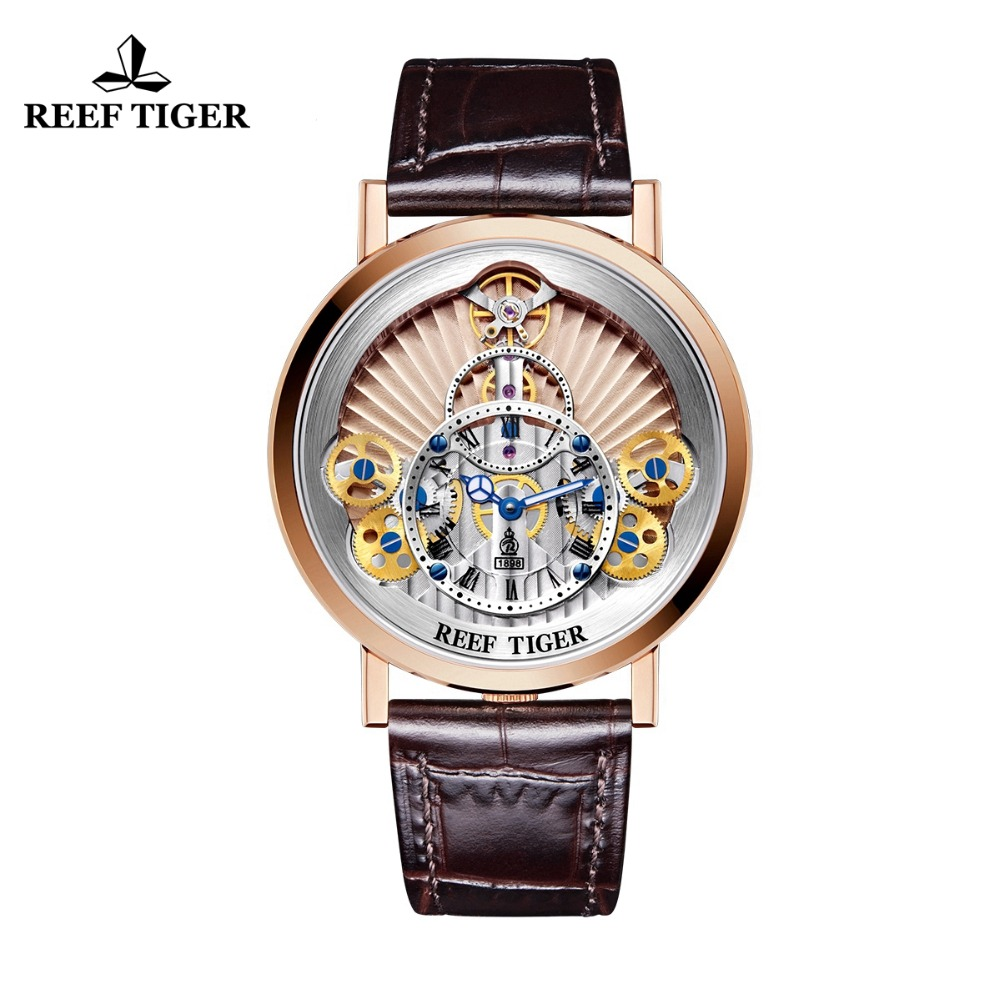 2018 New Reef Tiger / RT Luxe Gear Quartz Horloges voor Heren Lederen - Herenhorloges - Foto 1