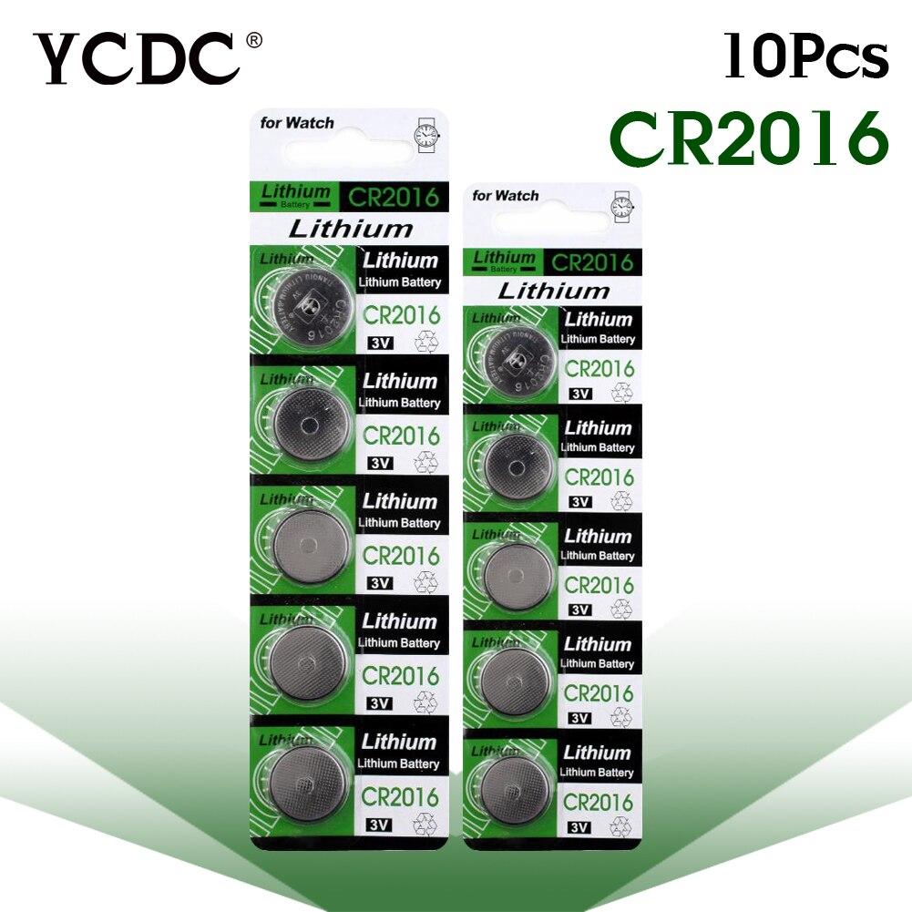 цена на YCDC cr 2016 lithium battery 10pcs/Lot ,CR2016 3V Cell Battery Button Battery ,Coin Battery,11.11 Big Promotion