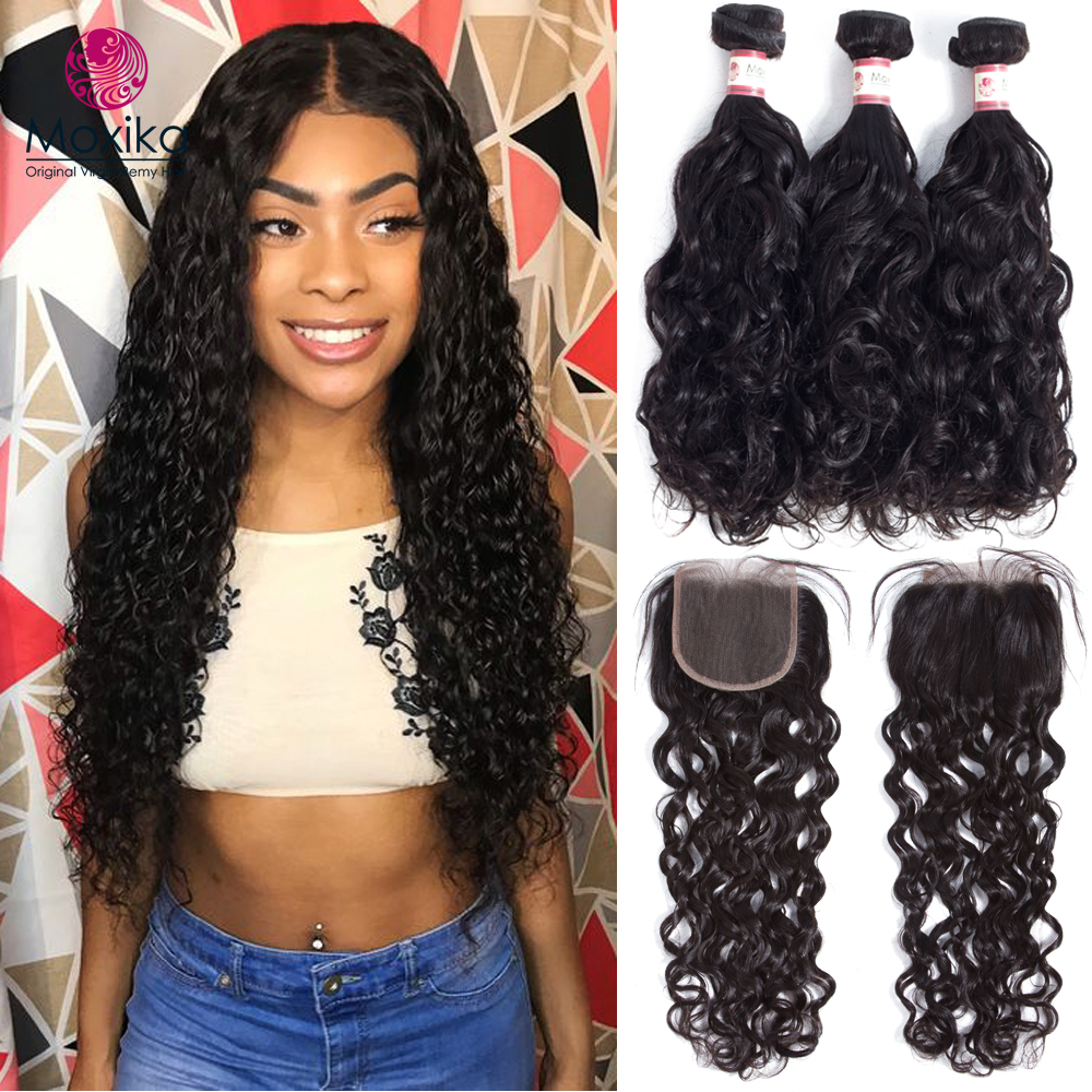 Moxika Water Wave Bundles With Closure Brazilian Hair Weave With Remy Closure Human Hair 2 3