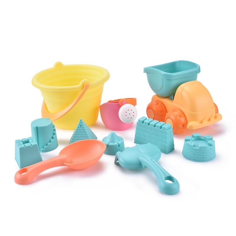Пляжный песок, игрушки для детей, Песочная лопата, мягкая пластиковая вода, забавный бассейн, детские игрушки для детей, ванная комната, детские игрушки для душа - Цвет: 11 Pieces