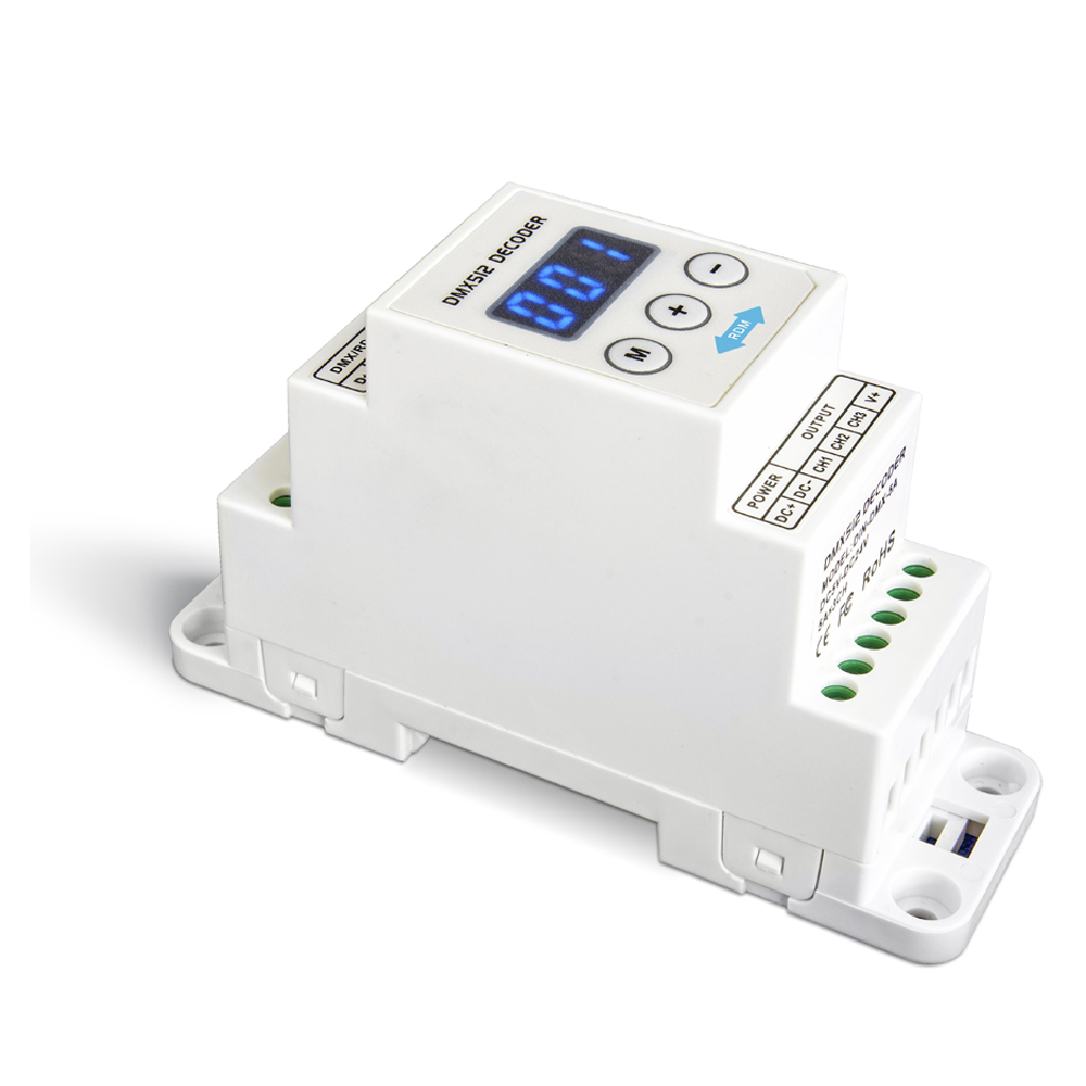 LTECH DIN-DMX-350;DIN Rail CC 3CH Constant Current DMX Decoder;DC12-48V input;350mA*3CH output 3 Channel LED DMX512 Decoder r4 cc ltech dmx512 decoder rgbw controller constant current dmx signal driver wireless led dimmer