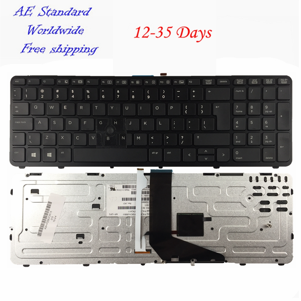 US laptop keyboard FOR HP ZBOOK 15 17 PK130TK1A00 SK7123BL With pointing stick Black border New English without backlight laptop keyboard without frame for hp zbook 14 us series black win8 sg 61100 xua 6037b0085301 sn9121