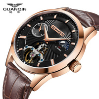 GUANQIN Tourbillon Switzerland Watches Original Men's Automatic Watch Self Wind Fashion Men Mechanical Wristwatch Leather