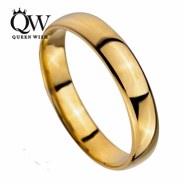 queenwish 5mm simply classic gold tungsten carbide engagement wedding rings band comfort fit couple rings for - Tungsten Carbide Wedding Rings