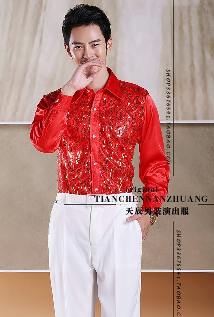 39-44  Cultivate one's morality new men show shirts, long sleeve clothing male personality  The singer's clothing