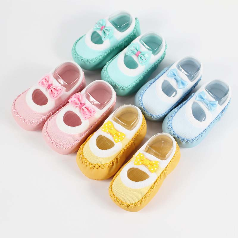 Baby First Walkers socks Anti Slip Newborn 0-12M Cotton Lovely Cute Shoes bow Cartoon Slippers Boots Boy Girl Skid Socks
