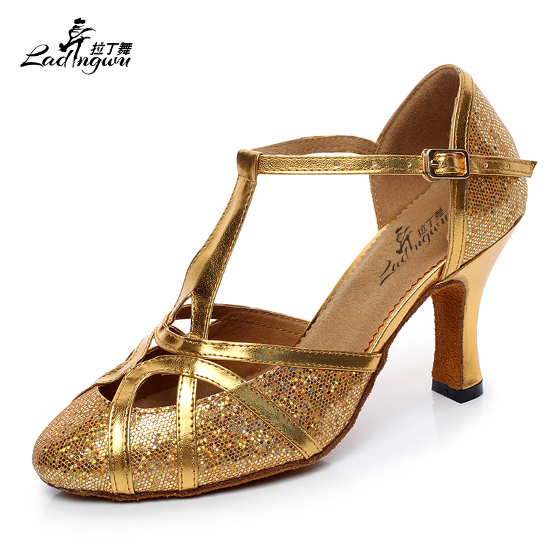 New Brand Free Shipping Golden/Silver/Black/Blue Flash+PU Ballroom Latin Dance Shoes Salsa Dance Shoes Heel 5cm/6cm/8.3cm
