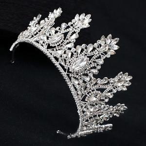 Image 2 - KMVEXO Fashion Big Drop Crystal Wedding Diadem Rhinestone Queen Tiaras And Crowns Headbands For Bride Hair Jewelry Accessories