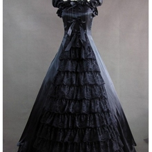 Классическое черное готическое викторианское платье/винтажное платье/стимпанк платье