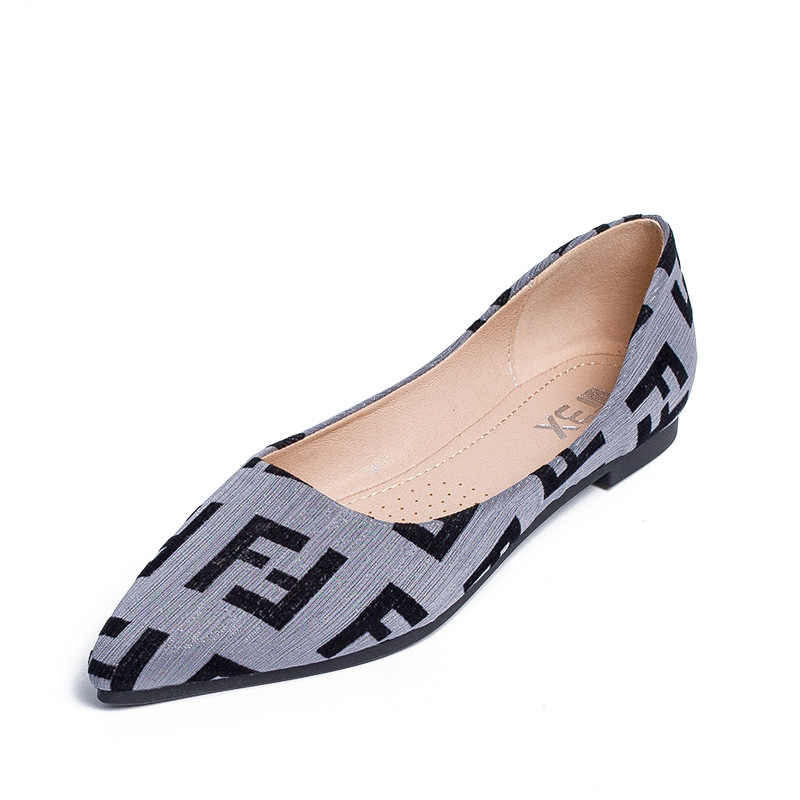 New single shoes fashion printing large size women's flat shoes