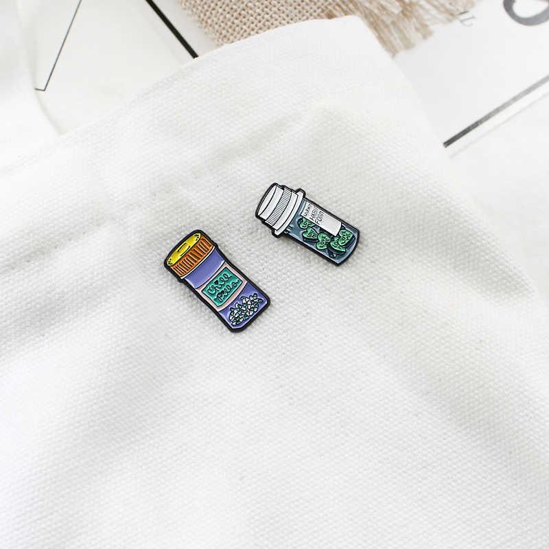 ขวด Drift เข็มกลัดการ์ตูนขวดยา CHILL PILL Heart Potion LOVE ME น้ำผลไม้เครื่องดื่ม Enamel Pin Denim เสื้อ Badge เพื่อนของขวัญ