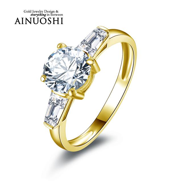 Ainuoshi 10 k sólido oro amarillo anillos de boda joyería fina de calidad superior personalizada anelli 1.25 ct diamante simulado anillo de las mujeres