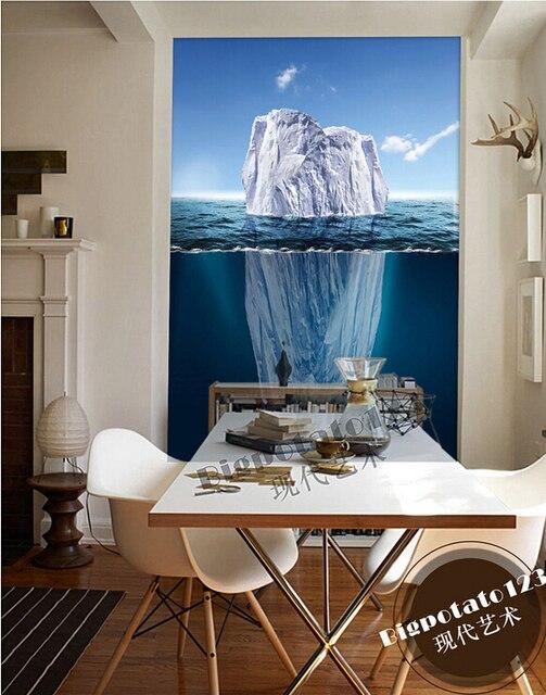 € 26.34 |Les dernières peintures murales 3D, beau et frais bleu ciel mer  glace paysage, salon, canapé TV fond mur, chambre papier peint. dans ...