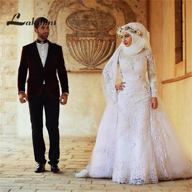 Modest high collar muslim wedding dresses with detachable skirt long modest high collar muslim wedding dresses with detachable skirt long sleeve dubai bridal gowns with appliques junglespirit Images