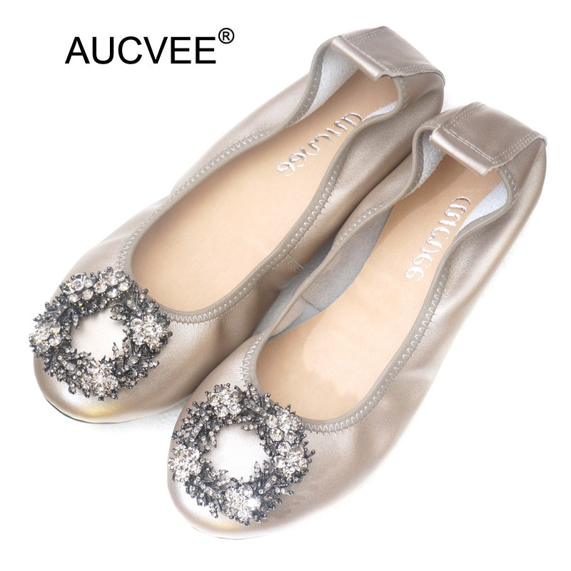 Plus Size 34-43 Ladies Flat Shoes Fashion Bling Rhinestone Women Flats Casual Genuine Leather Ballet Flats Fold Up Gold Shoes vintage women flats shoes old beijing mary jane ballet shoes peacock casual cloth flat ladies ballet shoes plus size 43