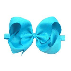 "Image 5 - 30 צבעים 6 inch שיער קשתות BabyGirls סרטי ראש גדול 6 ""Bow רך גומייה עבור בfant יילוד פעוטות"
