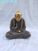 Книги по искусству коллекция Antique Скульптура/украшение дома Изделия из металла, китайский Старый Бронзовый свинка Бодхидхарма статуя
