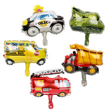 1pc mini tank Car Balloons Fire Truck Car Train Foil globos school bus toys Children Gifts Birthday Party Decorations Kids balls(China)