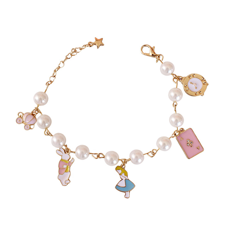 fashion Fresh lovely sweet Alice In Wonderland Pearl Watch Pumpkin Car Poker Dangle Bracelets for woman jewelry Mothers Day New