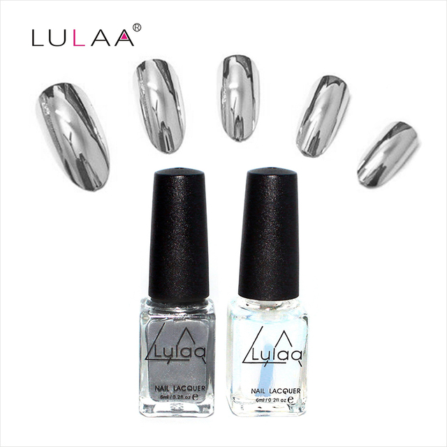 2016 fashion 2pc/lot  6ml Silver Mirror Effect Metal Nail Polish Varnish Top Coat Metallic Nails Art Tips nail polish set