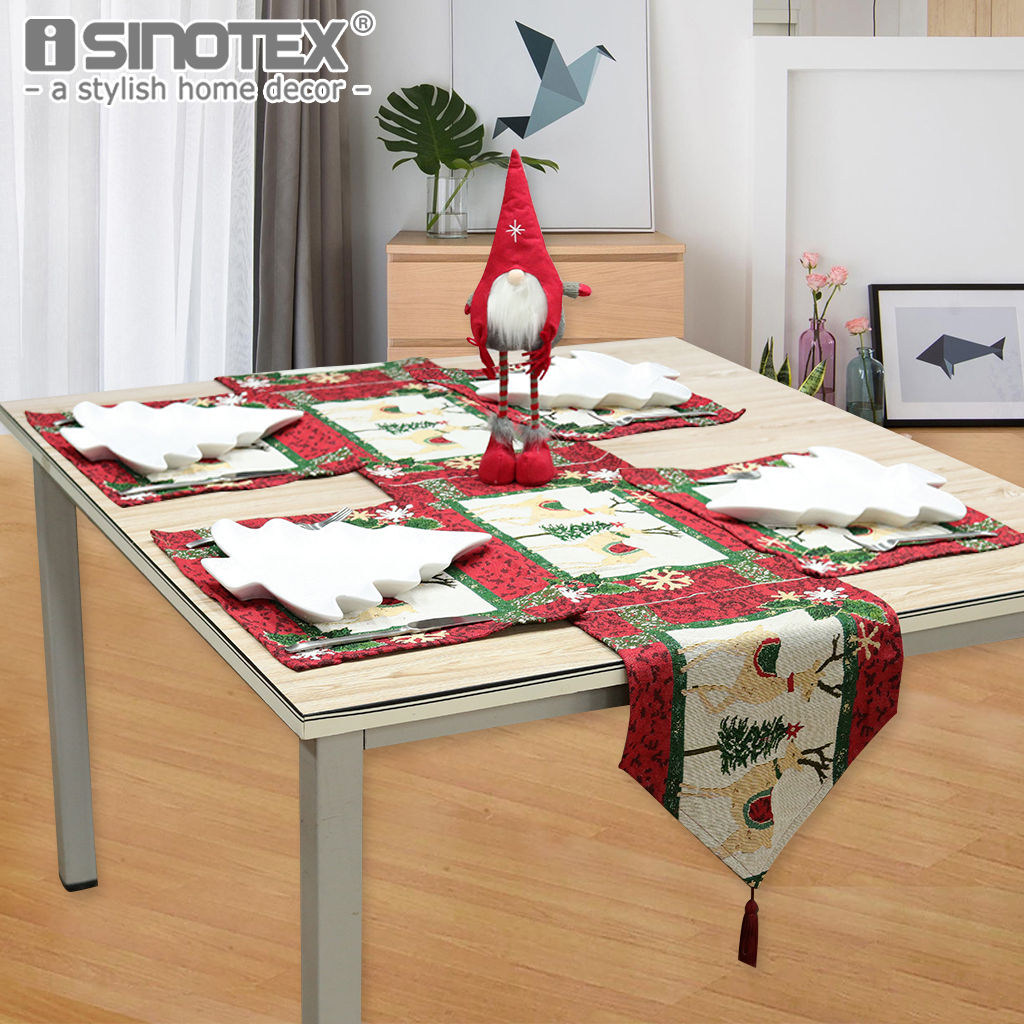 1PCS Nature Polyester Cotton Christmas Deer Printed Table Runner American Style Nappe Table Colver Home Decor Manteles Para Mesa