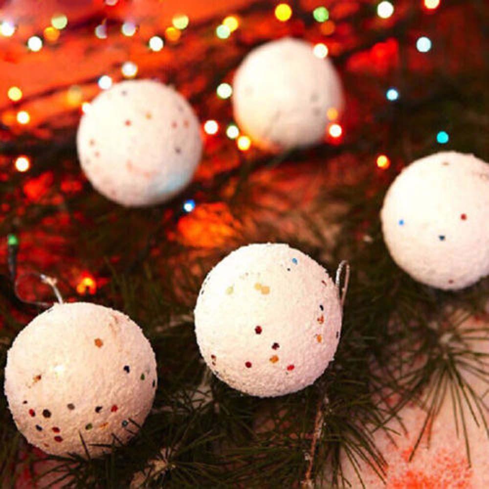 6PCS Christmas Snowball 4CM Foam Balls Party Ornaments Xmas Tree Hanging Decoration Christmas Pendant Drop Ornaments