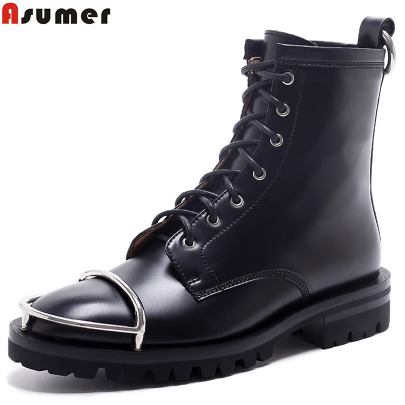 ASUMER fashion new arrive women boots round toe lace up genuine leather ladies boots square heel cow leather ankle boots ladies casual lace up flat ankle boots fashion round toe plain cow leather boots for women female genuine leather autumn boots