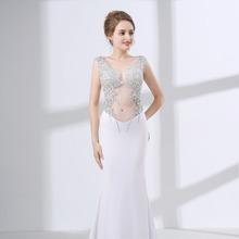 2018 Illusion Sexy Evening Dresses Satin Beading Mermaid