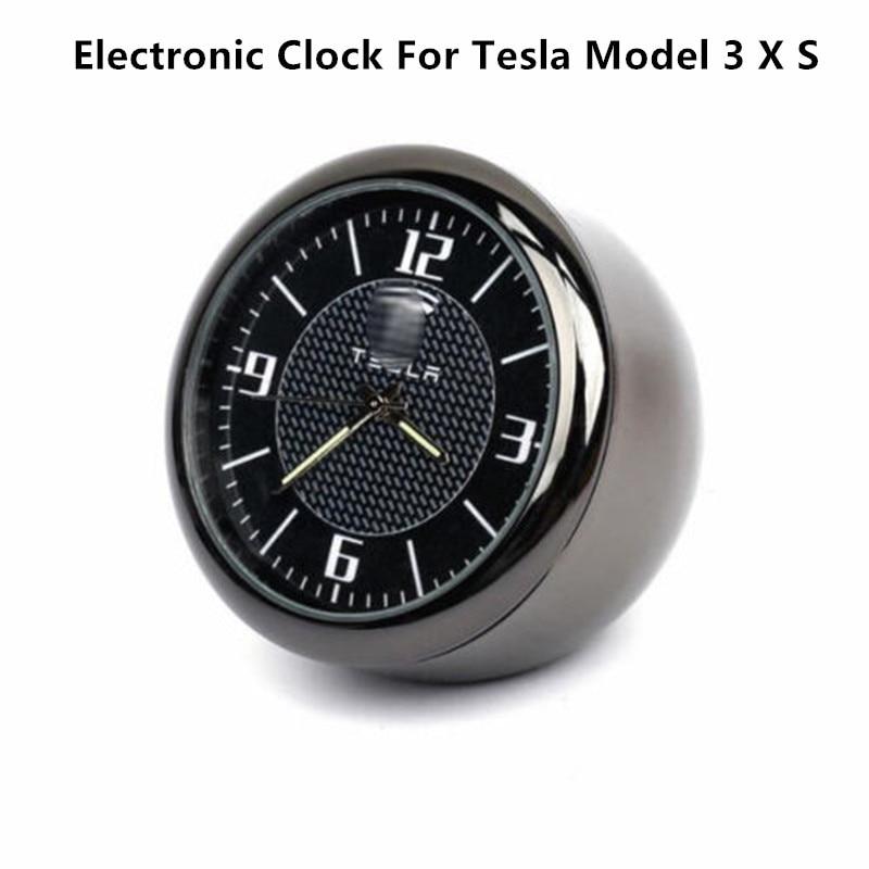 For Tesla Model 3 X S Car Clock Air Vent Refit Interior Luminous Electronic Quartz Ornament
