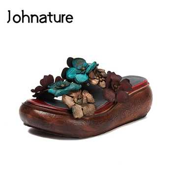 Johnature Genuine Leather 2019 New Summer Platform Slippers Floral Outside Slides Handmade Casual Sandals Wedges Women Shoes - DISCOUNT ITEM  40% OFF All Category