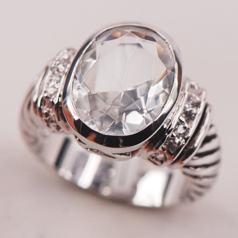 d255c0c24c52 BLANCO CRISTAL ZIRCON 925 Plata de Ley mujer anillo tamaño 6 7 8 9 10 F633  moda