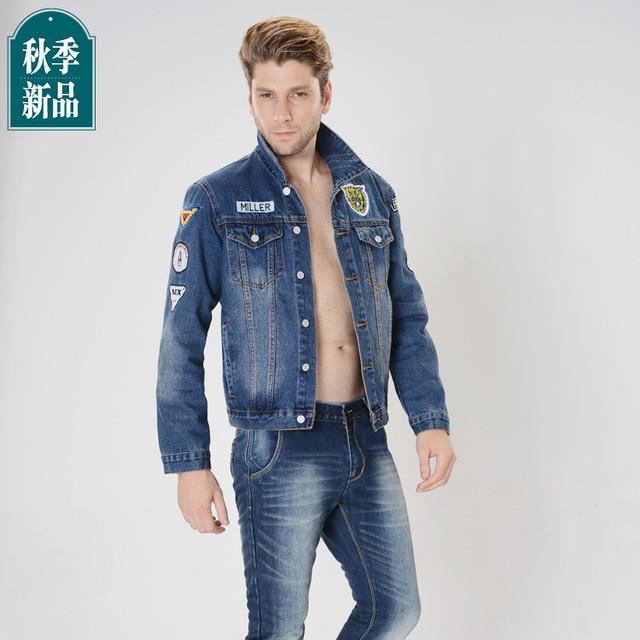 8b13e3553eb 2015 Autumn and winter Jacket Jeans Men Slim denim jacket lapel Blue Cotton  Turtleneck Fashion Casual Jacket Men