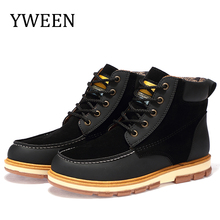 YWEEN Hot Newest Keep Warm Mens Winter Boots High Quality pu Leather Wear Resisting Casual Shoes Working Fashion Men Boots цена 2017