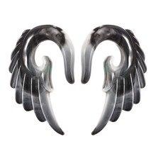 Fashionable Acrylic Angel Wing Ear Cuff For Women Gray Angel Wing Earrings Body Jewelry Ear Cuff For Girls stunning heart wing cuff ring for women