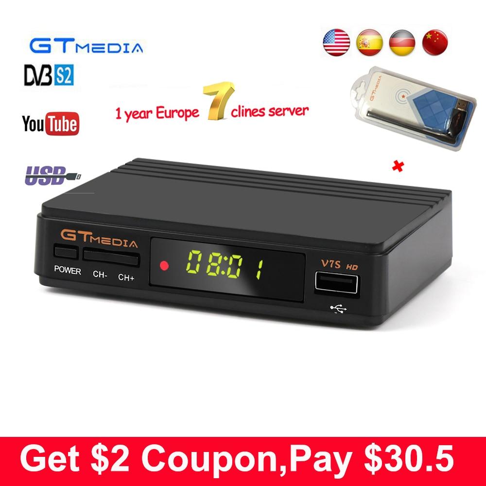 1 Jahr Europa 7 Clines sever GTmedia v7 Aktualisieren Digitale Satellite TV receiver Volle 1080 P DVB-S2 V7S HD + USB WIFI Decoder TV Box