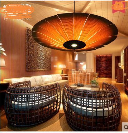 LED Southeast Asian Tai style clubhouse handmade wood lamp round saucer Pendant Lights Japanese parachute lamp lamps ZA62 ZL121 southeast asian wood veneer led pendant lamps restaurant living room bedroom room hotels bamboo pendant lights za62 zl121 ym