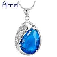 Женское Ожерелье с кристаллами Almei, серебряное ювелирное изделие с красно-синим камнем, ювелирные изделия с цепочкой, N840