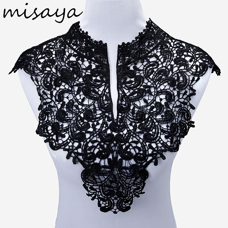 Image 2 - Misaya 1pc Lace Collar of 9 Style Beautiful Flower and Heart Venise Lace Applique Trim Lace Fabric Sewing Supplies Lace Neckline-in Lace from Home & Garden