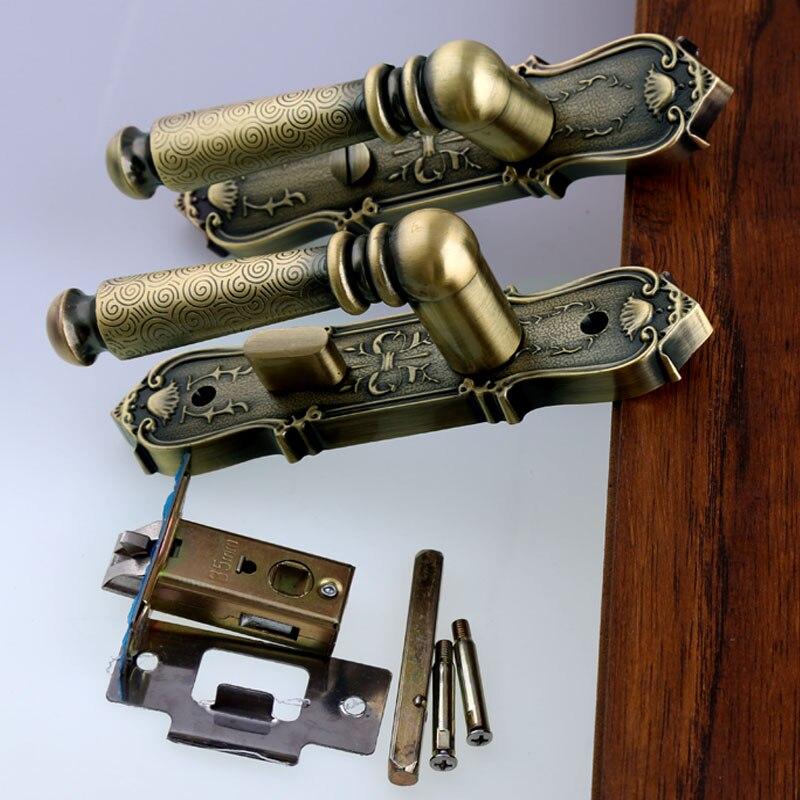 110 мм ретро стиль Ванная комната проходу деревянные двери ручка замок один язык номер может быть заблокирован без ключа античная латунь ручки