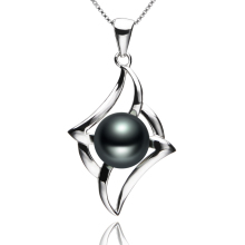 FEIGE New Design 925 Sterling Silver Necklaces & Pendants 8-9mm Black Freshwater Cultured pearls for Women's Pearl Fine Jewelry