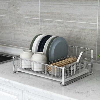 304 stainless steel dish rack single drain tray kitchen shelf storage and hanging dish rack LU5301