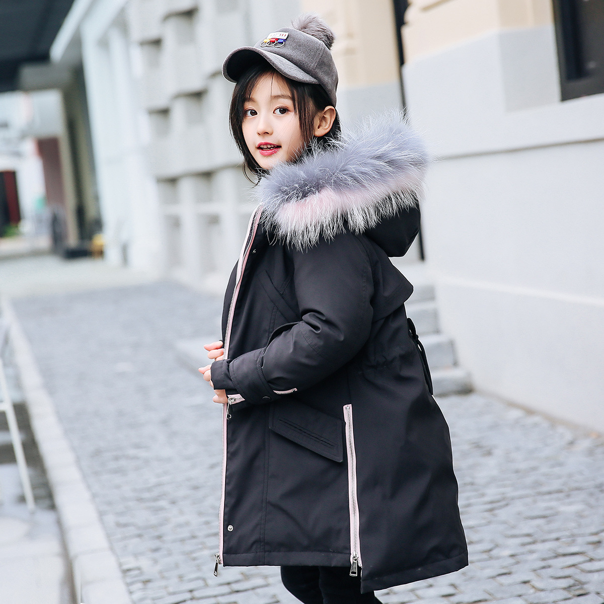 Children down jacket, 2018 new children's clothing han edition cuhk child upset in the girls' long feather hooded jacket girls down jacket long in the new fashion winter 2017 female children upset han edition tide leisure coat